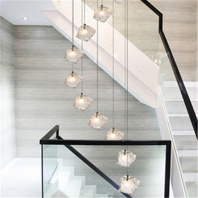 Europe  Stair Chandelier Stair Lamp Long Chandelier Simple Modern Loft Duplex Restaurant Villa Creative Lamp Free Shipping enlarge