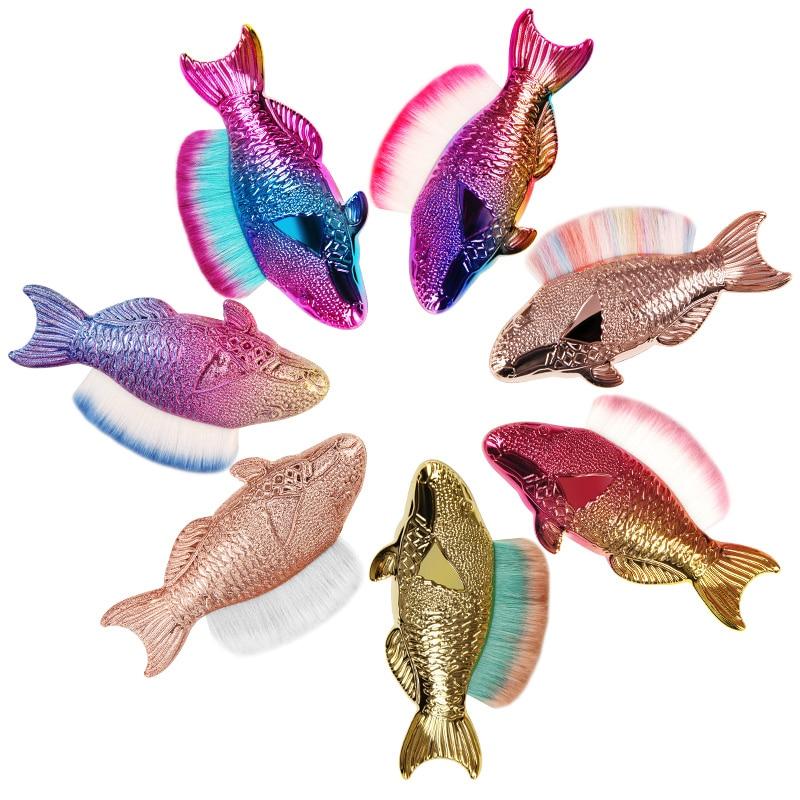 CYSHMILY-pincel para quitar el polvo de las uñas, en forma de sirena, de arcoíris, para decoración de uñas en Gel UV, con purpurina