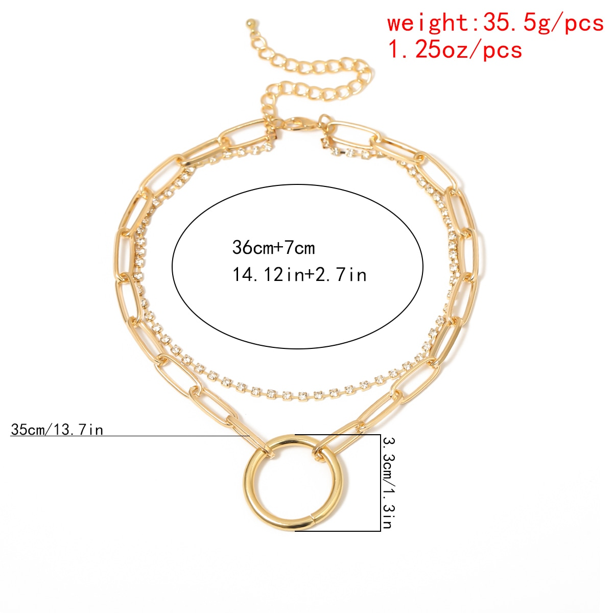 Купить с кэшбэком Gothic Crystal Multi Layer Circle Choker Necklace Collar Statement Steampunk Gold Color Sexy Lock Chain Necklace Women Jewelry