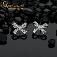 Cute 925 Sterling Silver Bowknot Stud Earrings Pave with Full Diamond Fine Women Jewelry OL Style Ear Studs Birthday Gift