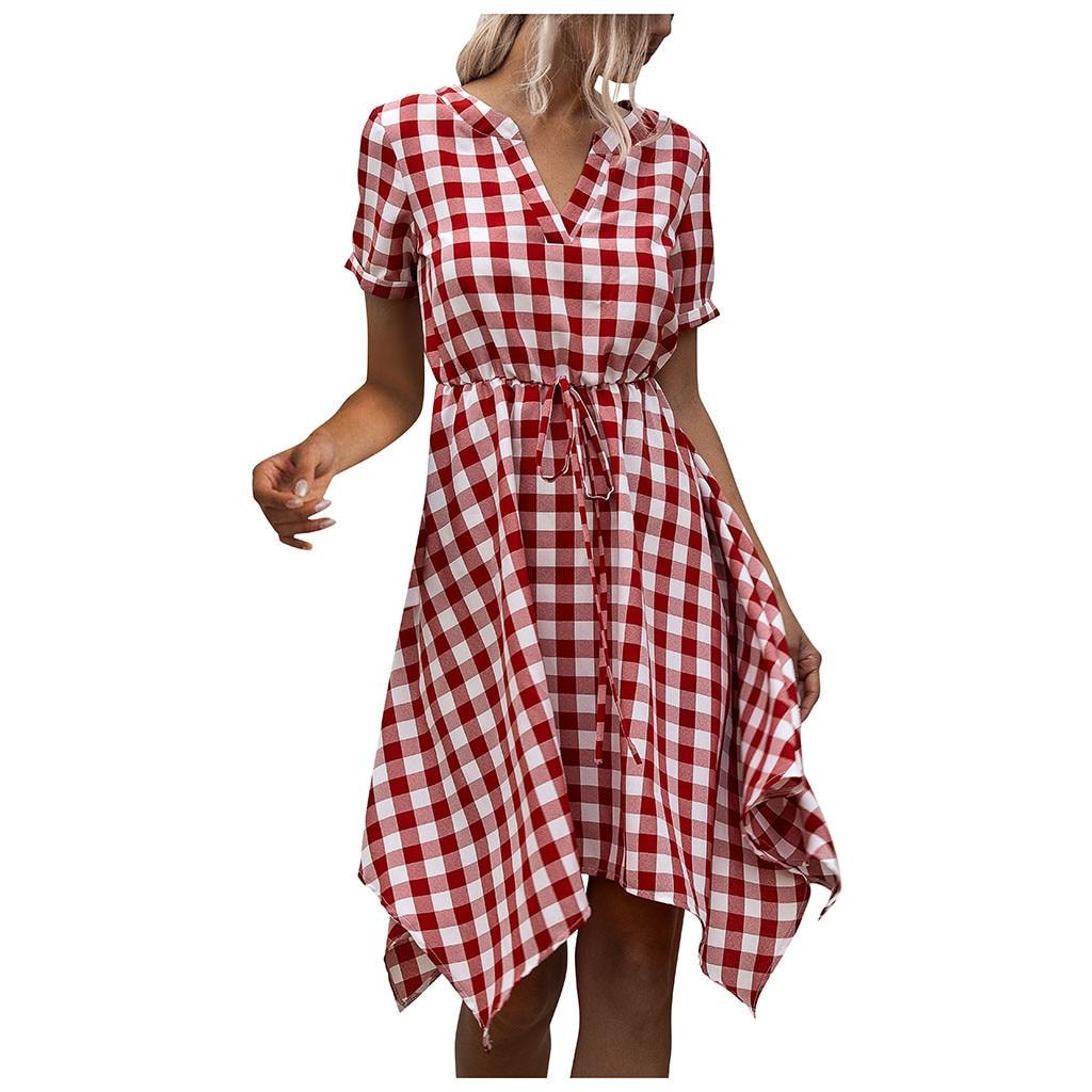 vestidos para mujeres vestidos de verano de la rodilla con cuello en V larga a cuadros del partido de tarde del vestido de la playa Vestido de tirantes de color caqui Negro Rojo 2020
