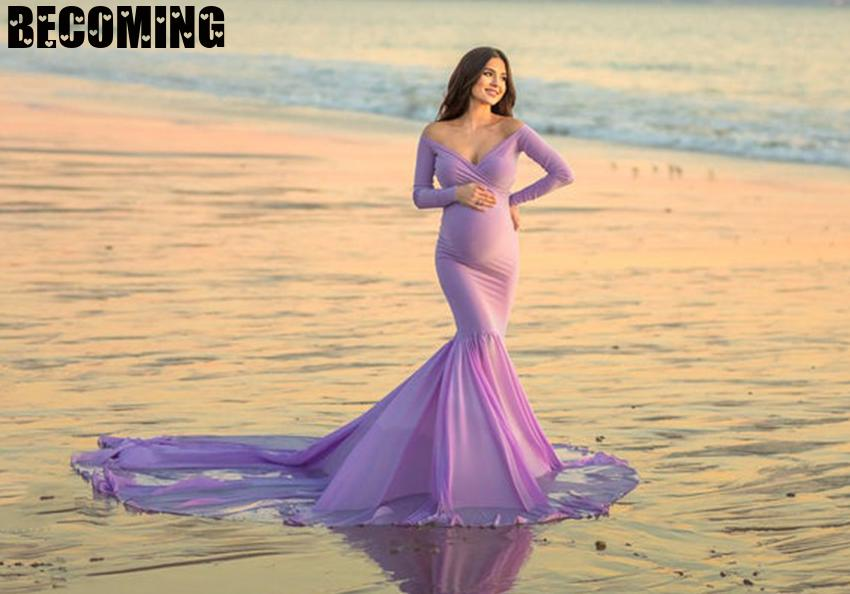 Ong Sleeve Vneck Pregnant Photography Dress  Maternity Maxi Dress Photography Props Pregnancy Dress Photo Shoot  Maternity Gown enlarge