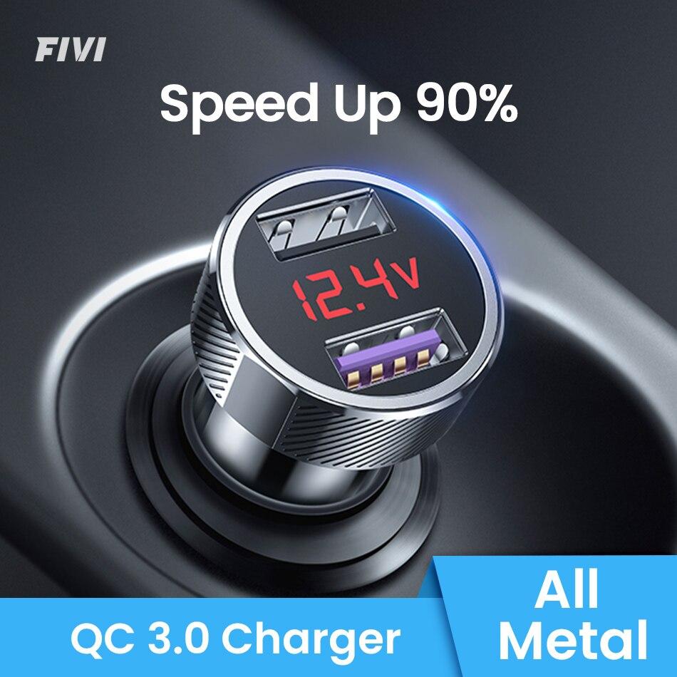 Автомобильное зарядное устройство FIVI, мобильный телефон, быстрое зарядное устройство QC 3,0, цифровой светодиодный дисплей напряжения, usb зарядное устройство для samsung xiaomi iphone huawei