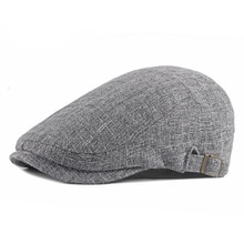 Casual Hat For Men Solid Breathable Cotton Linen Berets Blue Gray Spring Thin Flat Brim Peaked Cap W