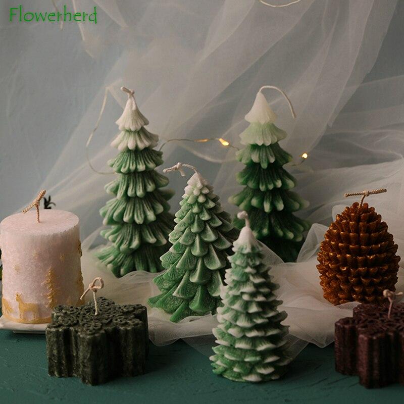 Рождественская елка форма для свечей PineCone силиконовая форма Снежная Снежинка, форма для свеча DIY мыло для изготовления свечей ручной работы