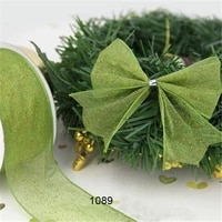 n1089 38mm1 12 spring green ribbon glitter organza gift packaging wired edge ribbon 25yards roll