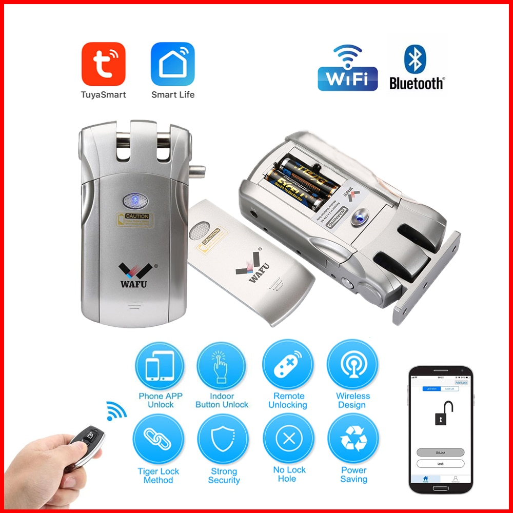 Wafu 019 Door Lock Wireless wifi Smart Lock Remote Control Locks Electronic Keyless Door Locks Phone Control Fingerprint Lock