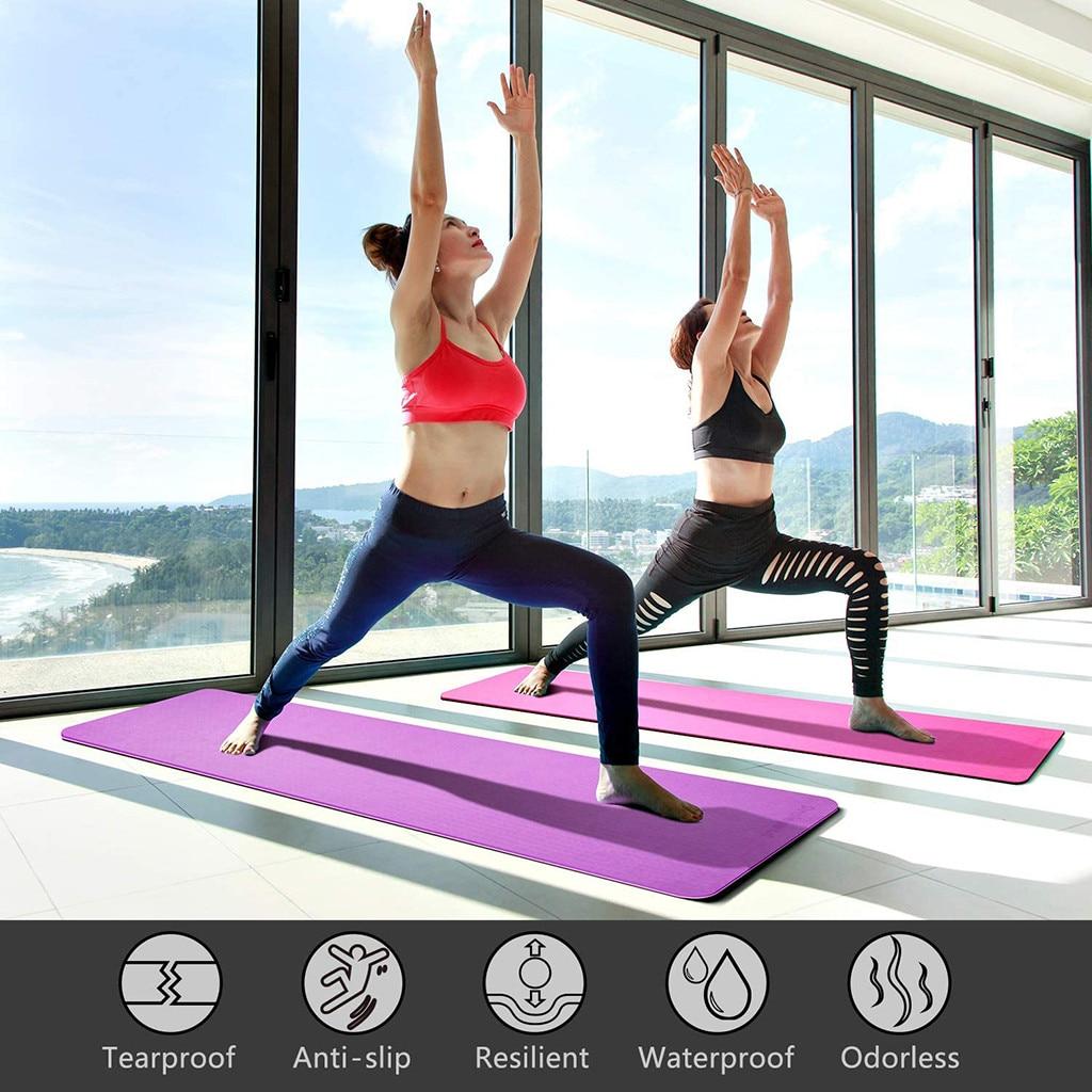 Antideslizante alfombrilla para hacer ejercicio, Fitness absorber el sudor inodoro estera de Yoga clásico Pro Tpe ecológico estera de Yoga Ap3