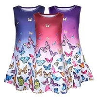 kids girls sleeveless dress summer holiday lovely gradient butterfly print skirt casual loose fashion round neck dresses cotton
