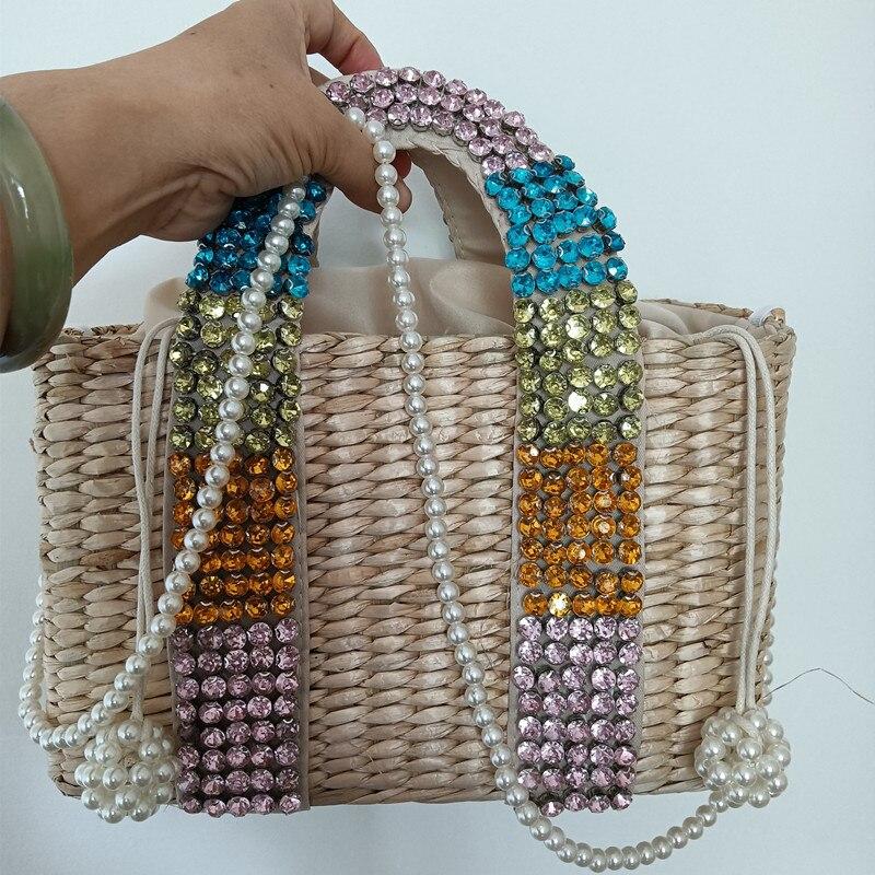 Broca de Água Bolsas para as Mulheres o Novo Bolsa de Palha Diamante Costurada Frisado Senhoras Bolsas Palha Tecido Cesta Mão