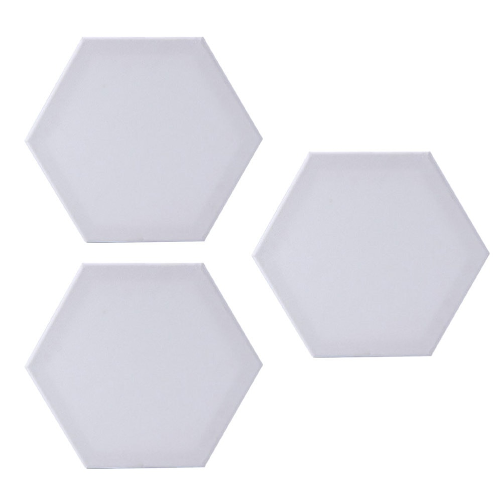 4k canvas gray drawing board multi functional sketchpad art bag blue red black grey optinal 3 Pcs Hexagon Cotton Drawing Board Thicken Art Painting Board Artist Canvas Board Oil Paint Canvas Sketchpad (White, 12.5cm Side