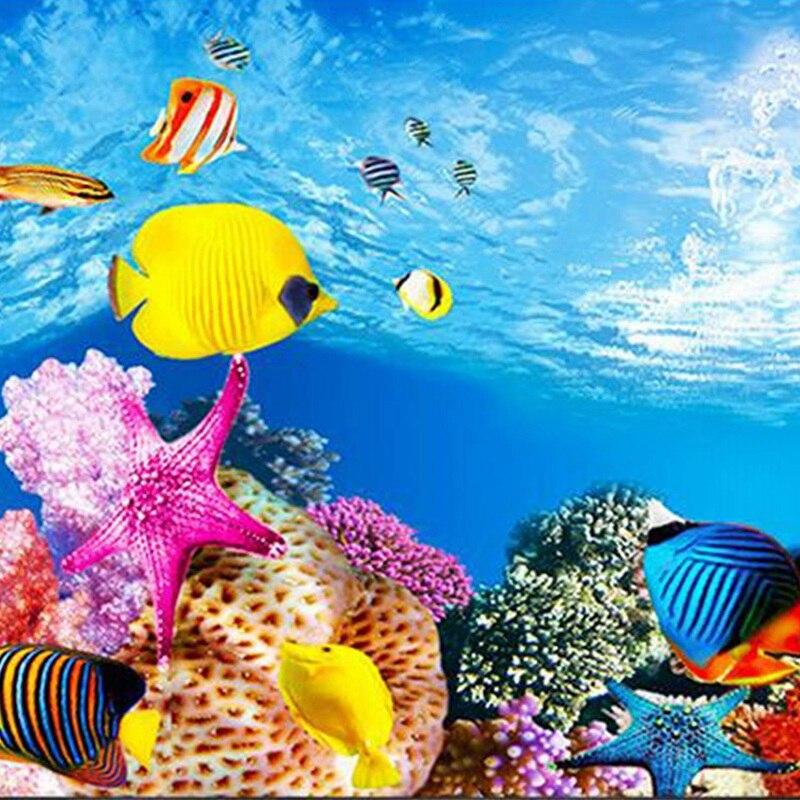 Papel de fondo para acuario con imagen 3d en HD, papel tapiz tridimensional para pecera, pintura de fondo, decoración de acuario de doble cara