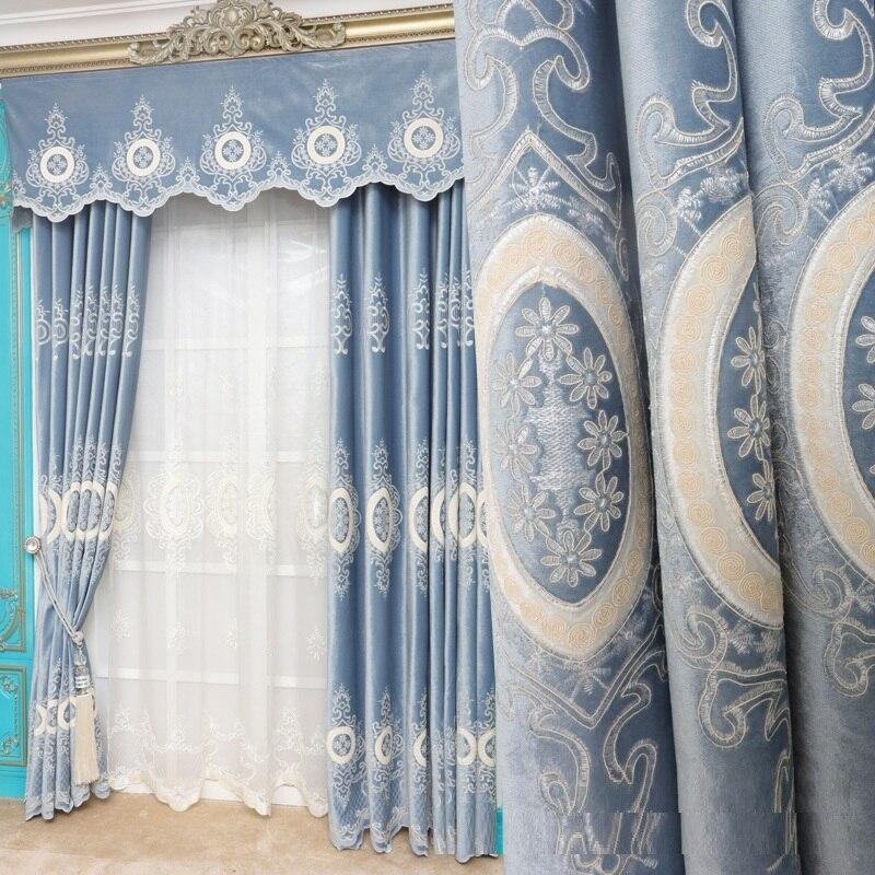 ستائر تول مخصصة ، فاخرة ، مطرزة ، قماش أزرق مخملي سميك ، لغرفة المعيشة الأوروبية ، B651