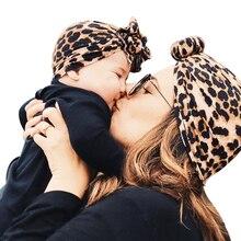 Newborn Infant Baby Girl Boy Mom Turban Hat Bows Flower Head Wrap Leopard India Hat Cotton Cap Parent-child Suit Beanie