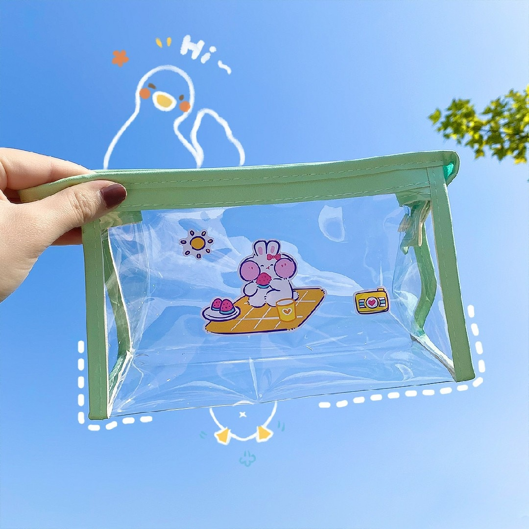 the new portable pvc cosmetic bag 3 piece set outdoor travel bag fashion transparent storage bag waterproof wash bag W&G PVC Waterproof Cosmetic Bag Travel Storage Bag Large Capacity Transparent Pen Bag Wash Bag