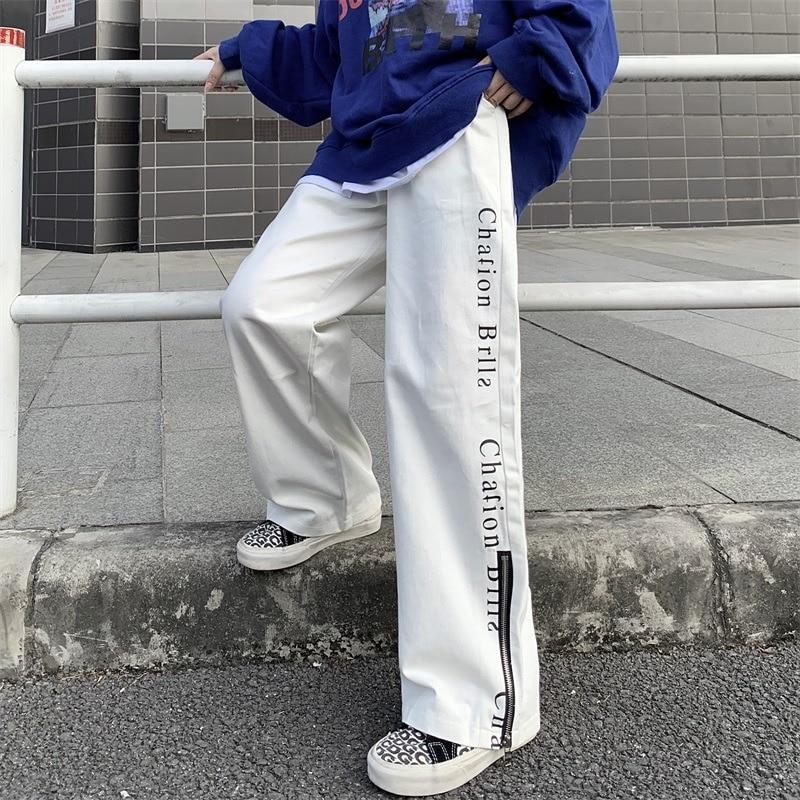 Women's Sports Pants 2021 Spring New Streetwear Versatile Fashion High Waist Straight Pants Casual B