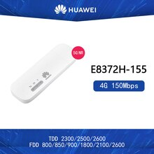 Entsperrt Huawei E8372h-155 4G USB WiFi Modem 4G 150Mbps LTE FDD BANS 1/3/5 /7/8/20 TDD38/40/41 Mobile USB Dongle Mifi Hotspot