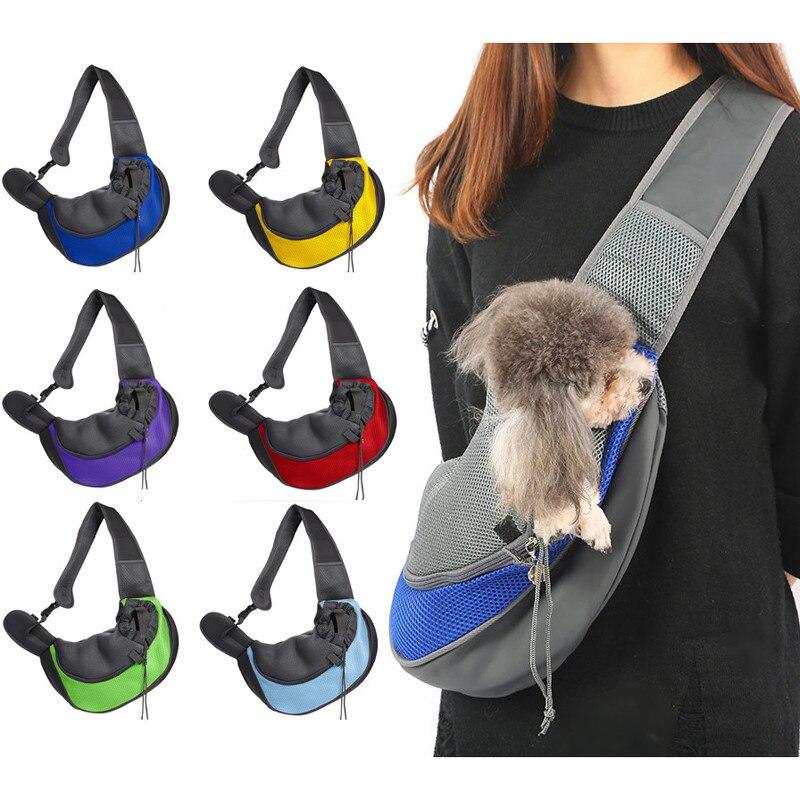 Bolsa de transporte perro cómodo gatos cachorro bolsas al aire libre malla Oxford bolso de hombro único Sling malla frontal viaje bolsa de hombro