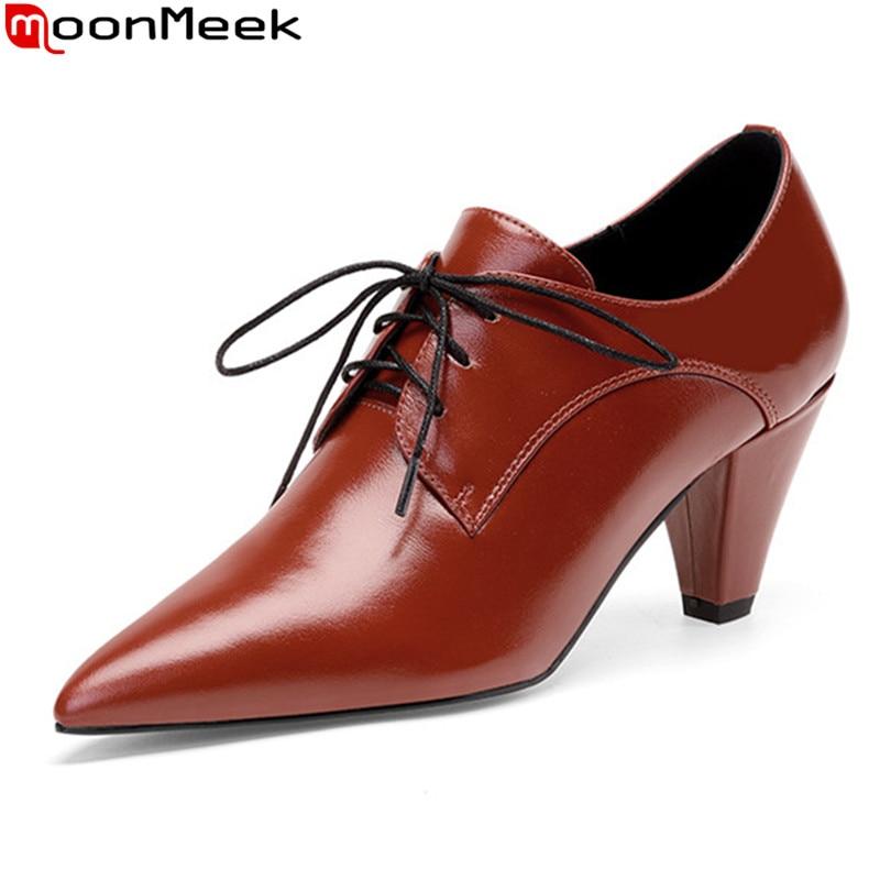 MoonMeek 2021 جديد وصول النساء مضخات جلد طبيعي مضخات سميكة عالية الكعب تو اشار مكتب اللباس أحذية الأحمر البني