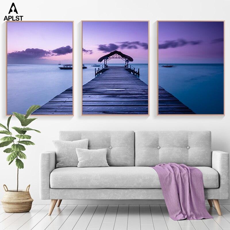 Cielo púrpura mar playa ver lienzo impresiones paisaje nórdico océano imagen cartel pared arte pintura para decoración de la sala de estar del hogar