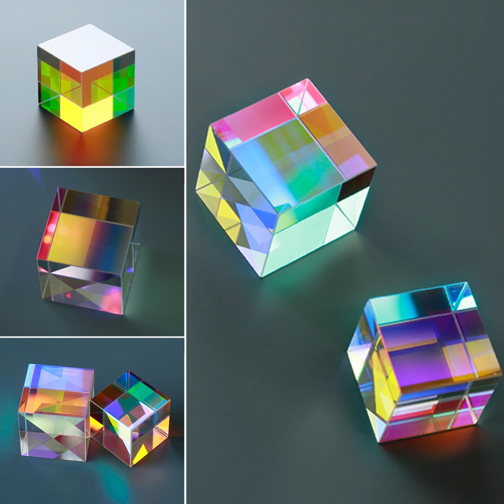Rainbow Prism Optical Glass Six-Sided Bright Light Combine Cube Physics Teaching Refracted Light Spe