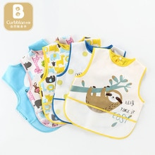 Curbblan Cartoon Waterproof Infant Eating Children Baby Bib Drawing Playing Sleeveless Cute Baby Bibs Soft Meal Burp Baby Bib