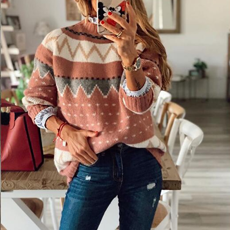 2021 Autumn Winter Striped Sweater Women Casual Color-block Loose Knitted Pullovers Female Harajuku Soft Thick Warm Sweaters