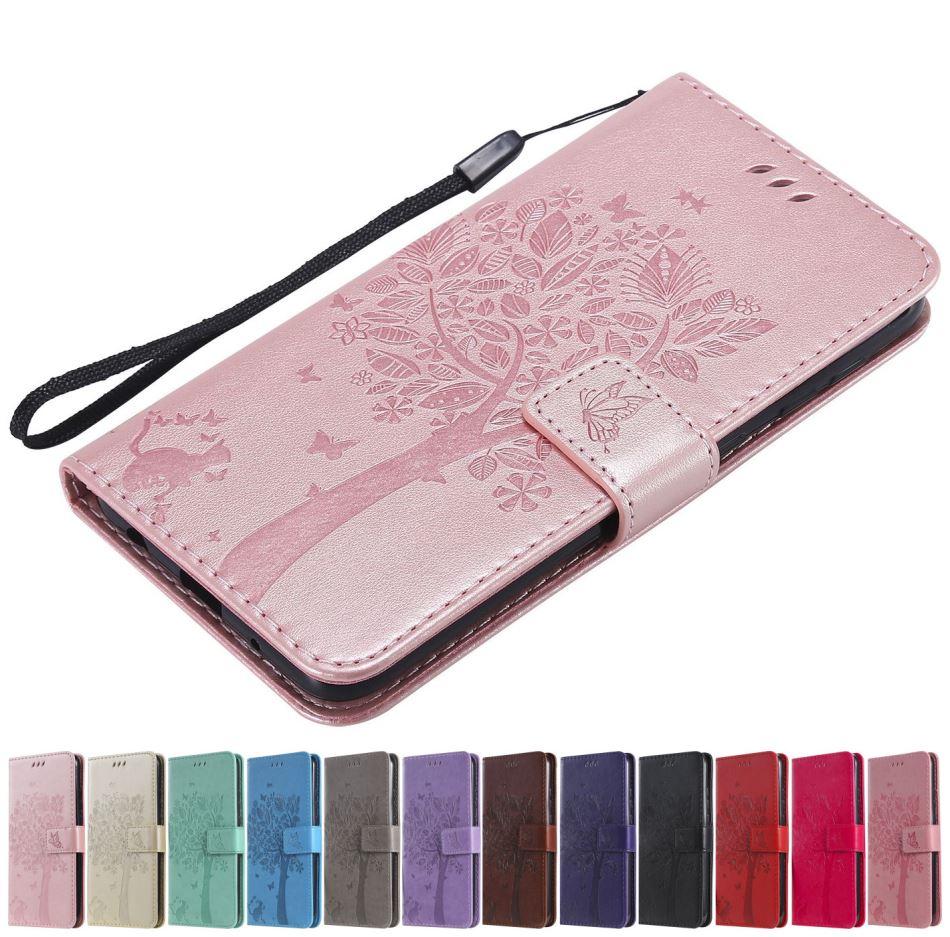 Nette Katze Baum Flip Telefon Fall Für Nokia 3310 2017 TA-1030 435 550 630 635 640 650 950 einfarbig Flip Leder Brieftasche Dame O06F