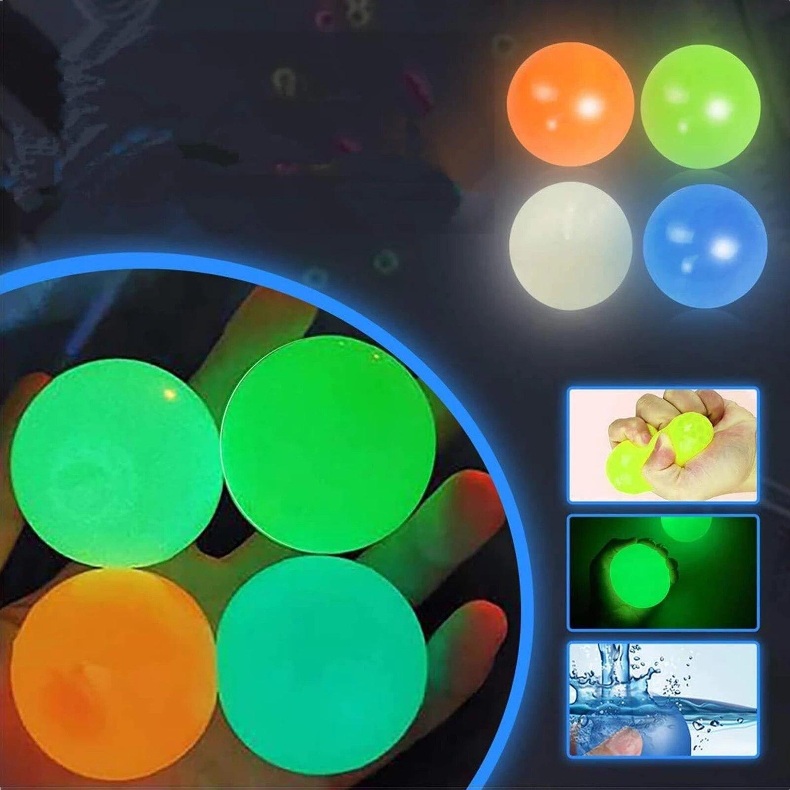 Светящийся липкий мяч для декомпрессии потолочный мяч бросает Сквош на потолок клейкая мишень Сквош детская игрушка для декомпрессии