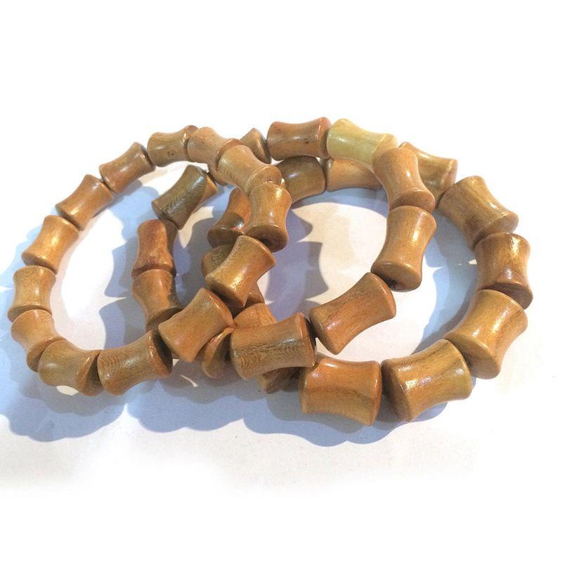 Cuentas de madera de melocotón Natural tibetano Om budista pulsera de oración pulsera de meditación