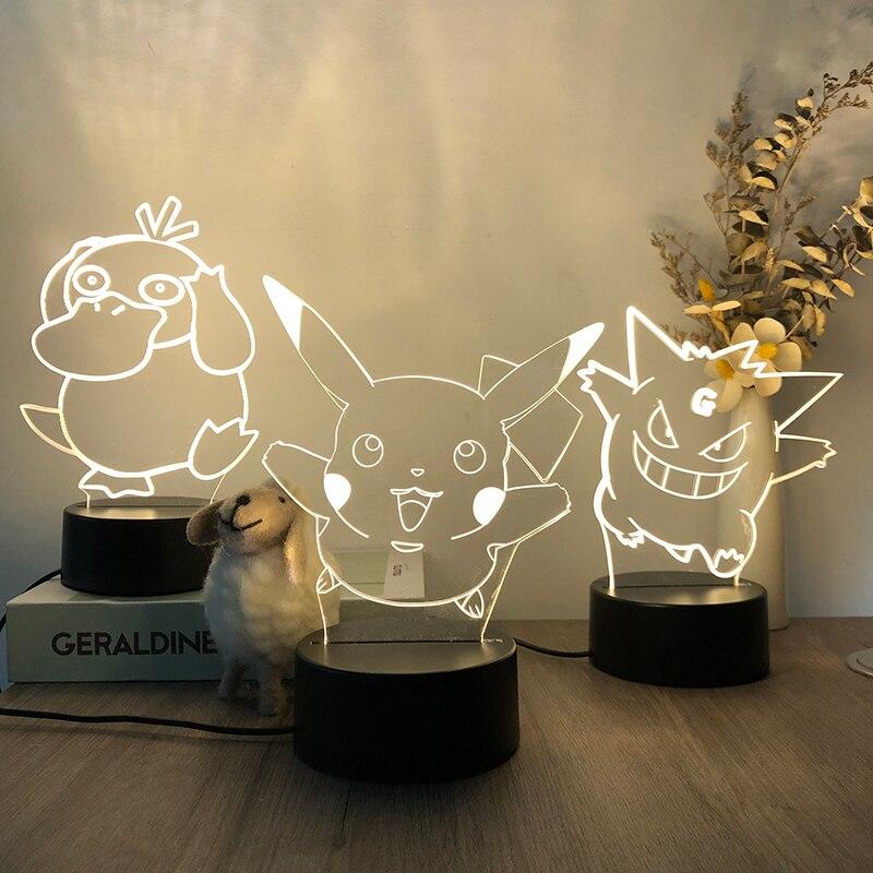 3D LED Night Light Pokemon Creative Atmosphere Light Mini Bedroom Table Lamp Bedside Lamp Sleep Plug-in Male and Female Models
