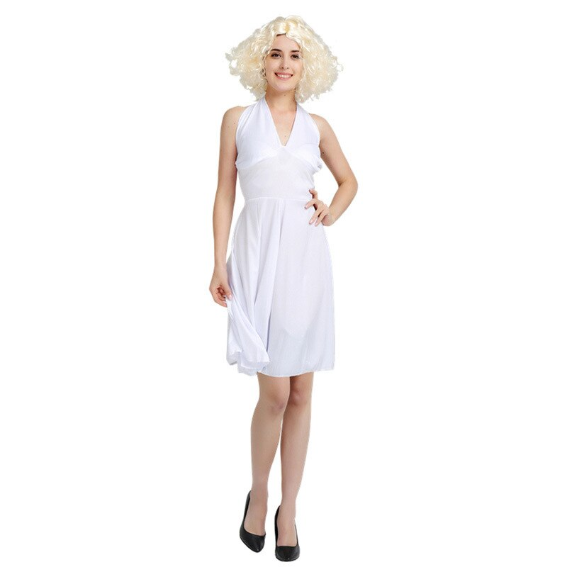Halloween funny costume cosplay Marilyn Monroe dress big wave wig elvis Presley conjoined clothes imitation show clothing set