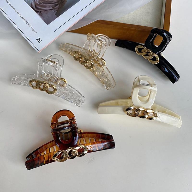 2021 Vintage de cadena de aleación de Clip de Pelo accesorios mujer...