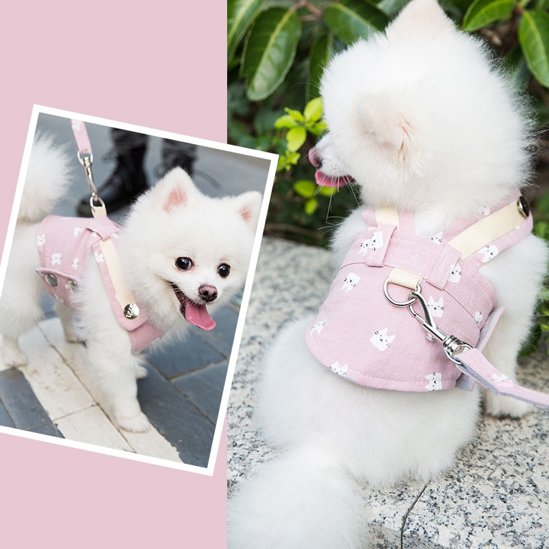 Купить с кэшбэком Cute Pet Dog Harness Leash Set Pet Chest Strap Breathable Dog Leash Walking Rope For Small Dogs Pomeranian Pet Vest Harness Rope