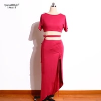new womens sexy modal rayon cotton short sleevesskirt 2pcs belly dance practice suit for set top