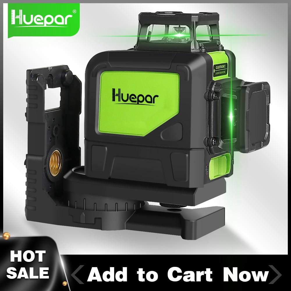 Huepar 8 خطوط 2D عبر مستوى خط الليزر التسوية الذاتية المهنية الأخضر شعاع أفقي وخطوط ليزر عمودي مع وضع النبض