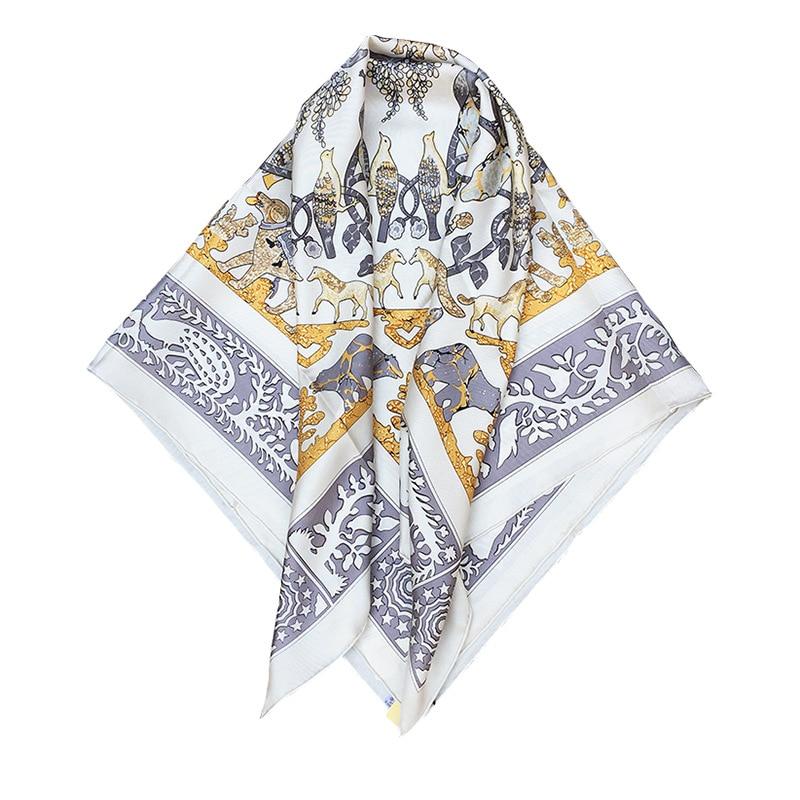 Free Shipping 100% Silk Satin France Style Heavy Silk Luxury Women H90 Square Popular Modern SIlk Scarves Shawls