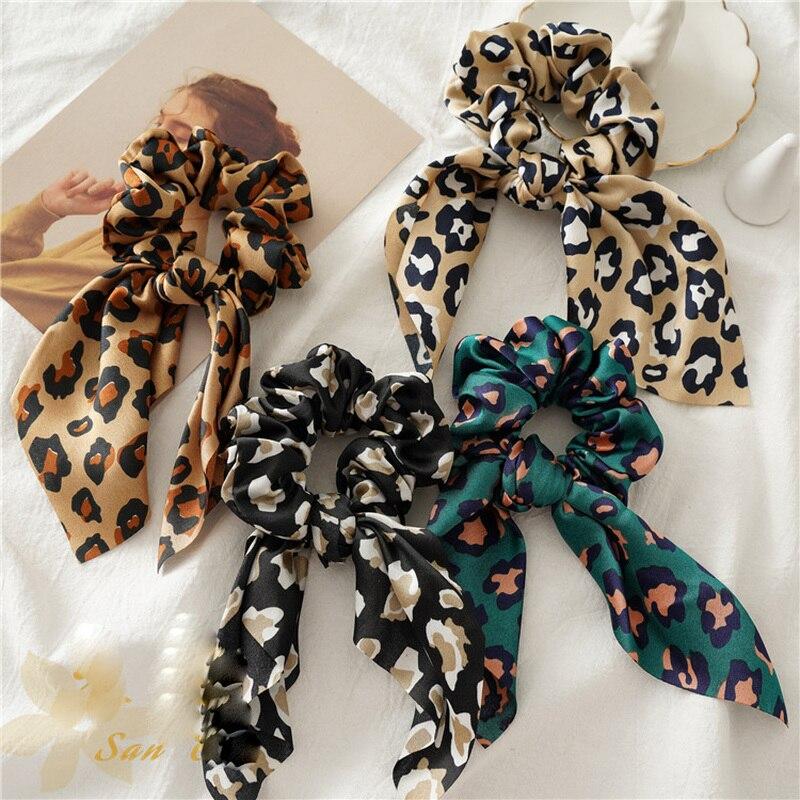 Bandas de cabello para mujeres, niñas, estampado de leopardo, diademas para el cabello para niñas, BandBow de goma suave para mujeres, Anillo para el cabello, accesorios para el cabello para niñas