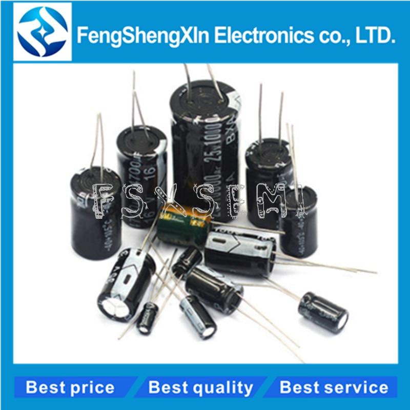 250cs/lote 10*20mm condensador electrolítico de aluminio 10x20 pies 5mm 63V 100V 35V 25V 16V 50V 330UF 100UF 1000UF 2200UF