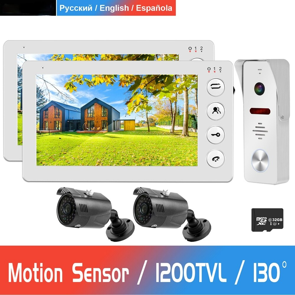 Wired Video Door Phone For Home 2 Monitors 1 Doorbell with 2 Cameras  Support Motion Detection Infrared Night Vision