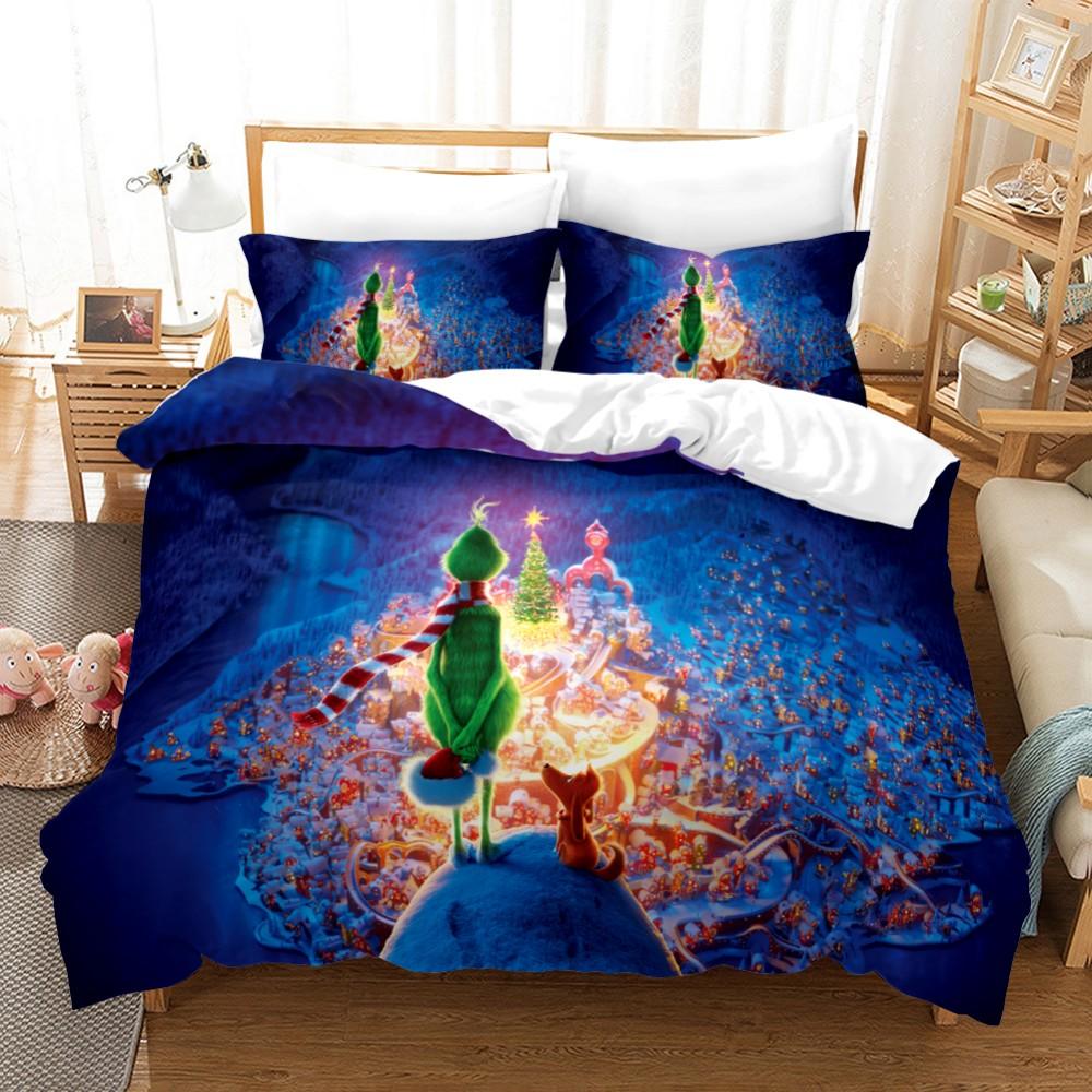 Juego de ropa de cama con estampado 3D de Boy gife, juego de edredón con dibujos animados, Textiles para el hogar, ropa para niños, como el Grinch stole Christmas N98