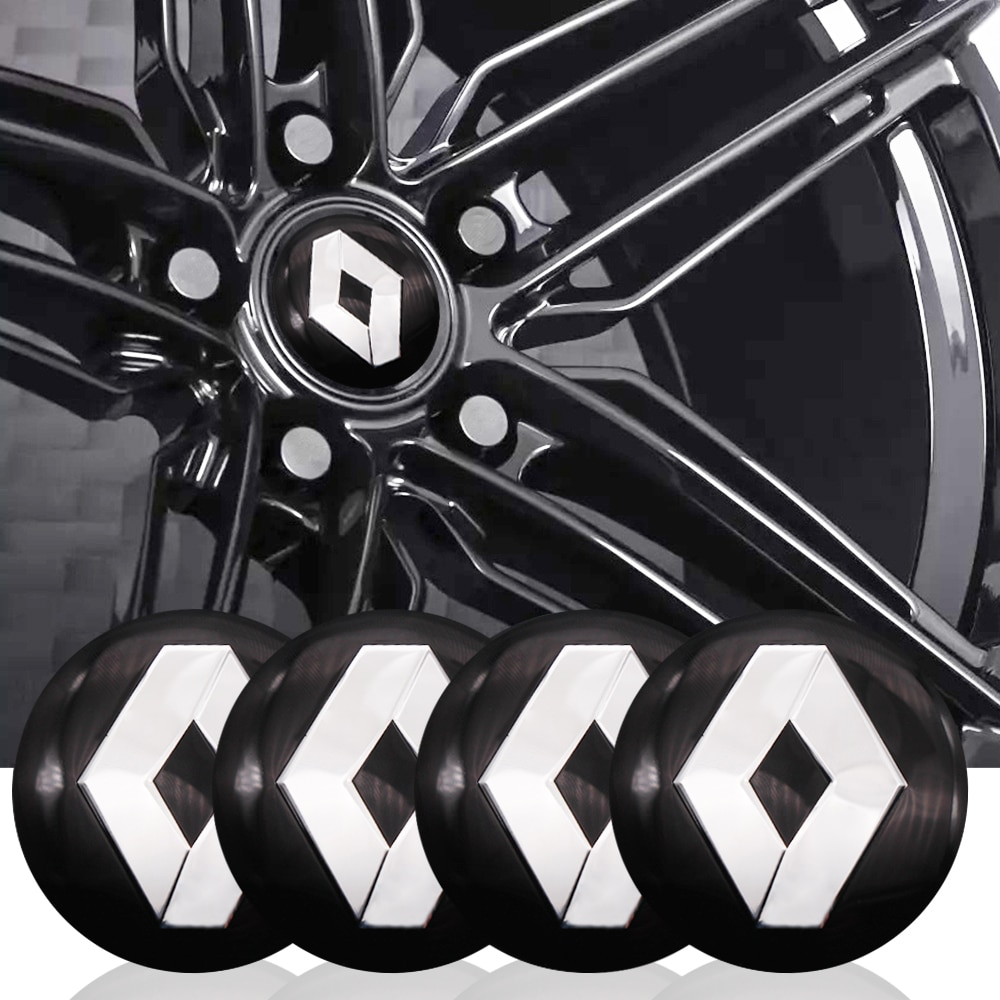 4 unidades/Paquete de 56mm, Centro de rueda de coche, Logo de aluminio Renault para Renault Megane 2 3 Duster Logan Clio Laguna 2 Captur, estilismo para coche