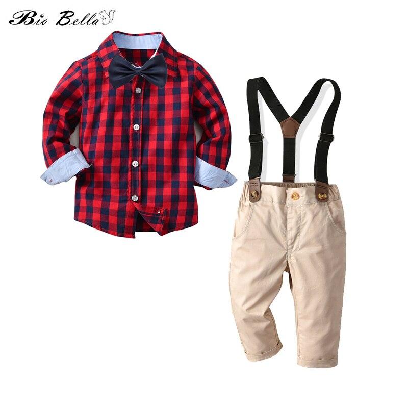 Traje de boda para niños moda niños otoño primavera fiesta cumpleaños ropa Set camiseta + Pantalones de cinturón bebé niños traje