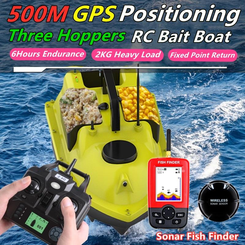 غس لتحديد المواقع 500 متر سونار صياد السمك مفتاح واحد كروز أرسي قارب الطعم ثلاثة القفزات 6 ساعات تحمل شاشة عرض مقاوم للماء أرسي قارب