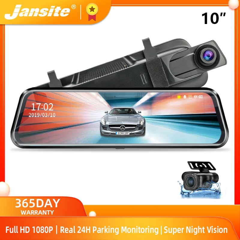 "Jansite 10"" Car DVR Touch Screen stream media 1080P front/rear camera Auto Camera Video Recorder Rearview mirror Backup cameras"