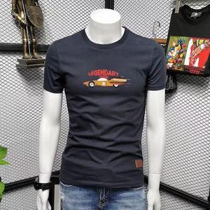 2021 Men's Silk Cotton Short Sleeve T-shirt Round Collar Trend Youth Breathable T-shirt Summer Leisure Short Tees