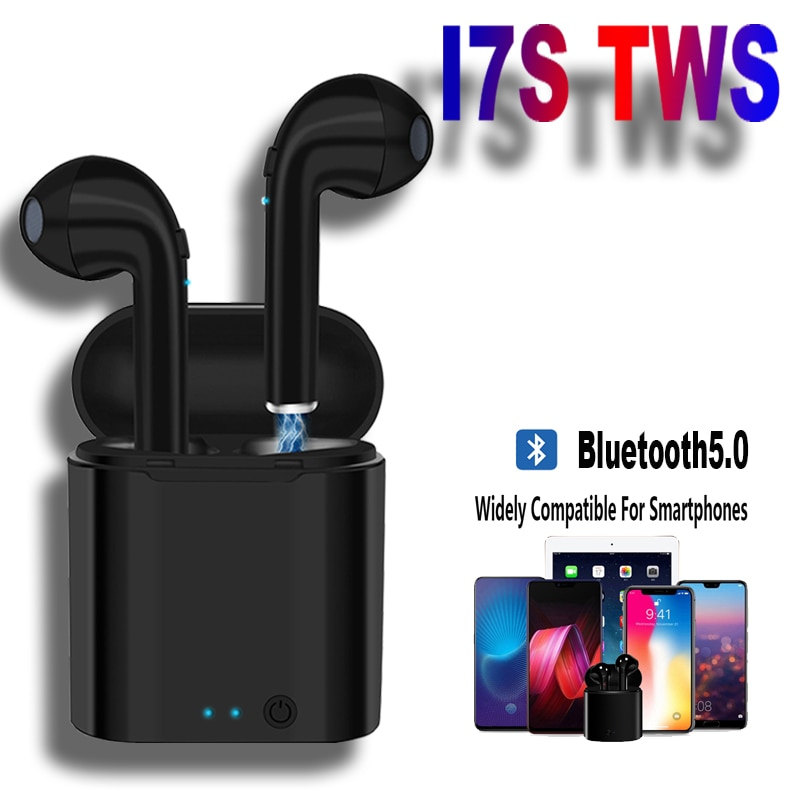 Hot Sale I7s TWS Bluetooth Earphone For All Smart Phone Sport Headphones Stereo Earbud Wireless Blue
