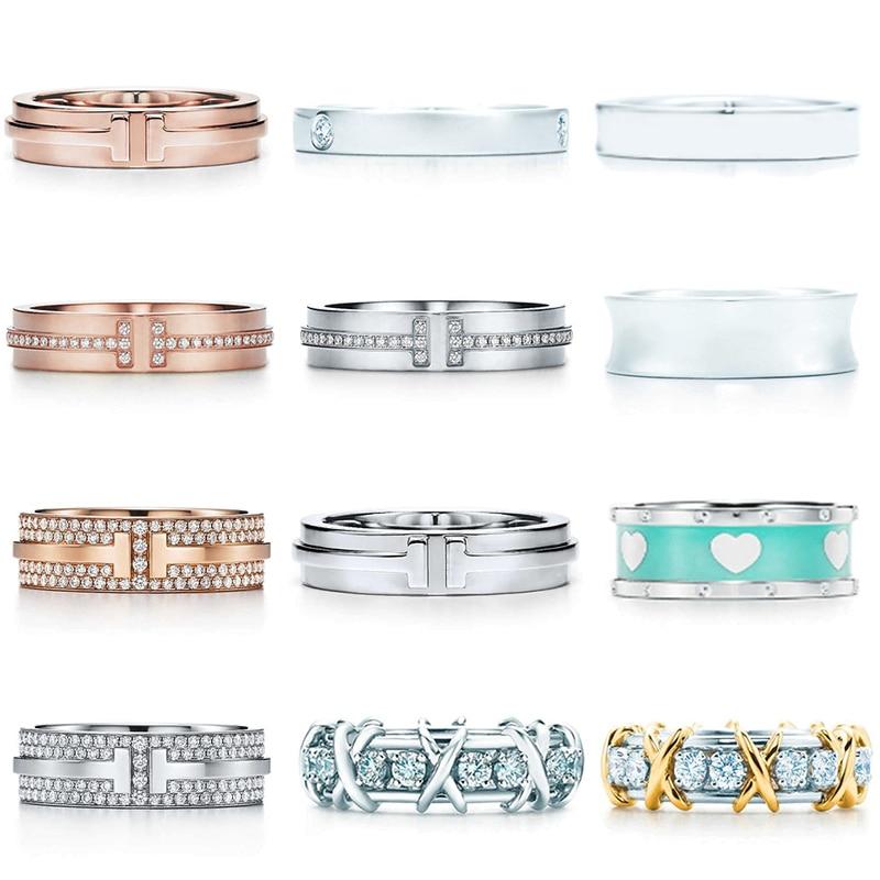 JZ 01 TFB haute qualité TIF 925 en argent Sterling Simple élégant classique anneau série plat anneau bijoux à bricoler soi-même pour les femmes en gros