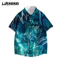 liasoso vaporwave summer men casual shirt cartoon anime jojo bizarre adventure short sleeve holiday streetwear 3d print tops