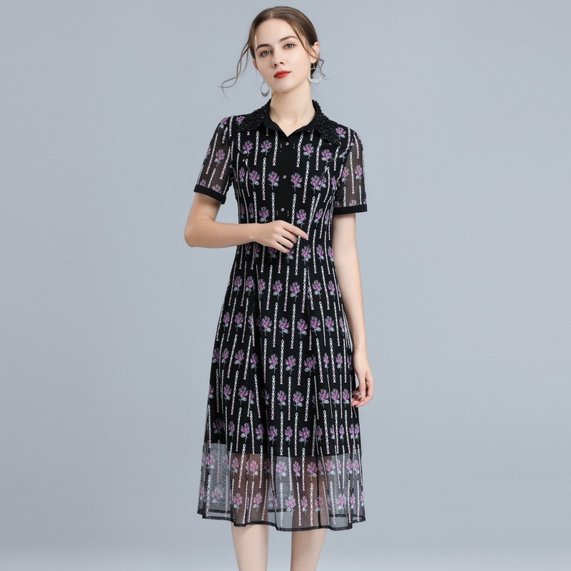 4XL Dress Vestidos De Festa 2021 Summer Fashion Party Events Women Beading Turn-down Collar Hollow Out Embroidery Dress Female